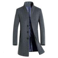 mens lange erbsenmantelwolle groihandel-Brand New Long Wollmantel Männer Lässige Mode Pea Coat Jacke Wollmischungen Winter Jacken Herren Wollmantel