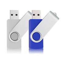 portátil de color azul al por mayor-2 colores mezclados Girar 16GB USB 2.0 Flash Drive Rotación del pulgar Pluma Unidad Plegado Memory Stick para computadora portátil Macbook Tablet (Blanco, Azul)