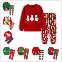 erkek pamuklu pijama takımları toptan satış-Çocuklar Noel Pijama Set Noel Santas küçük Yardımcı kız erkek pamuk pijama Kardan Adam karikatür pijama çocuk Süper adam kahraman gecelik