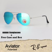 Wholesale sunglasses aviators men - AAAAA+ Top quality Plastic Polarized lens Classic pilot sunglasses men women Holiday fashion Aviator sun glasses with cases and accessories