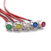luces de emergencia led rojas blancas al por mayor-50 UNIDS Rojo Blanco Amarillo Azul Verde Color LED Luz de Señal DC12V 24V 36V 48V 110V Luz Indicadora LED Señales de Emergencia Indicador de Luz Bombilla