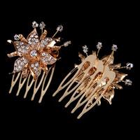 europäisches haar zum verkauf großhandel-Heißer Verkauf Europäischen und Amerikanischen Legierung Bohrkamm Hochzeitskleid Diamant Blume Zubehör Brautschmuck Frauen Haar Kopfschmuck