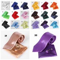 Wholesale men ties handkerchiefs for sale - Group buy 20Colors Solid Neck tie Cuff Links Handkerchief Set Classic Casual men business wedding party tie cm FFA607