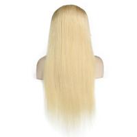 dantel ön peruk beyaz toptan satış-Tam Dantel İnsan Saç Peruk Hafif Sarışın 613 # Perulu Bakire Saç Düz Tutkalsız Dantel Ön İnsan Saç Peruk Siyah / Beyaz Kadınlar için