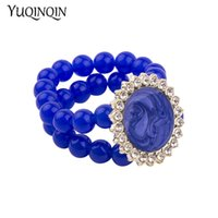 эластичная смола оптовых-Vintage Resin Cuff Bracelets Bangles for Women 2018 New Fashion Stretch Round Blue  Acrylic Bracelet Simple Charm Jewelry