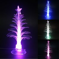 Wholesale fiber optic lighting trees resale online - Manufacturers selling colorful light emitting Christmas tree ornaments usb lamp led fiber optic Christmas tree mini night light present