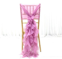 ingrosso tulle per decorazioni da sedia-Eleganza Chiffon Sedia Sash Tulle Chiavari Sedia Sash Chair Cover per Out Door Wedding Banquet Decoration