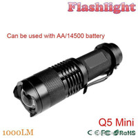 Wholesale Cree Q5 Zoomable - ZK30 1000LM LED Flashlight LED CREE Q5 Mini Bicycle Light LED Bike Light Front Torch 3 Modes Zoomable Light Waterproof Free Shipping