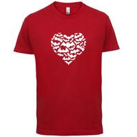 ingrosso camicia dei pipistrelli-Love Heart Bats - Mens T-Shirt - a forma di cuore / Silhouette pipistrello / Regalo -13 colori