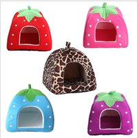 Wholesale small outdoor cat house resale online - 31 cm portable Soft Strawberry kennel Pet Dog Cat Bed Houses Lovery Warm Doggy Kennel outdoor pet house