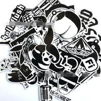 ingrosso autoadesivi bianchi neri per auto-100 Bianco e nero Impermeabile Adesivi per skateboard Valigie Valigie Refrigeratori Adesivi per auto Schermo solare rimovibile PVC Paster 10 5lq ff