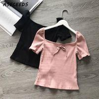 Wholesale white crop tie top - 2018 Summer T Shirt Women Tops Kawaii Bow Tie Deep Square Collar Rib T-Shirt with Puff Sleeve Tshirt Vintage White Crop Top