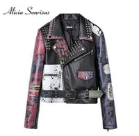Wholesale Painted Jacket Leather - Asymettry Graffiti Leather Jacket Women New 2017 Autumn Printing PU Motorcycle Rivets Leather Jacket Female Biker Coat AS1009