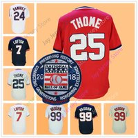 Wholesale Purple Pullovers - Jim Thome Jersey 2018 Hall Of Fame Patch Ricky Vaughn KENNY LOFTON Omar Vizque Manny Ramirez Jerseys Red Pullover Cleveland Jerseys