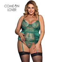 lingerie preta natal venda por atacado-Lantejoulas Sexy Natal Lingerie Plus Size Preto Verde Transparente Dessous Sexy Hot Erotic Sexy Lingerie de Renda RI80535 D18110801