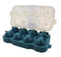 buz topu yapıcı toptan satış-Stoklanan 1 adet 8 Hücre Dondurma Pop Kalıp Silikon Buz Topu Küp Kalıp Küre Buz Tepsisi Formları Yuvarlak Küp Tepsi Ball Maker Dia ...