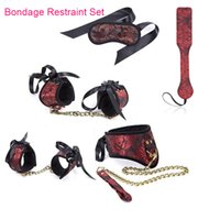 Wholesale collar handcuff ankle set for sale - Group buy New BDSM binding color set obsessive sex slave collar and belt handcuffs ankle cuffs eye mask arms sex toys