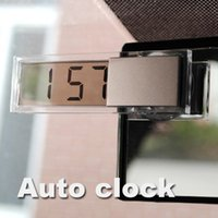 Wholesale Digital Transparent Clock - Wholesale-Mini Durable Transparent Clock with Sucker Digital LCD Display Car Electronic Clock with Sucker Silver