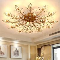 lámpara de techo de la habitación al por mayor-Moderno K9 Cristal LED Montaje empotrado en el techo Lámparas de araña de oro Negro Inicio lámparas para el dormitorio Cocina Sala de estar
