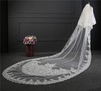 Wholesale long two tier veil resale online - Custom Made Two Tiers Long Cathedral Wedding Veils With Lace Applique Trim Soft Tulle Real Image Bridal Veil