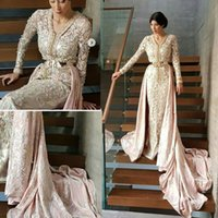 Wholesale Long Sleeved Satin Prom Dresses - Long Sleeved Pink Mermaid Caftan Morocan Dress Mixed with Western Prom Evening Dresses Combination of Tradition and Modern Moroccan Kaftan
