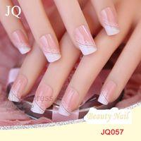 3d pre designed nails NZ - JQ 24pcs set Acrylic Nails 3d False Nail Full Fake Nail French Tips Pre Design With Free Glue JQ057