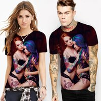 Wholesale Girls Sexy Design Clothes - Men 3D T-shirt Summer Clothing Tees Sexy Girls Printed Design Tee Short Sleeved Top