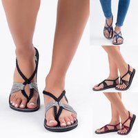 Wholesale hand tied weave - new Bohemia simple and versatile slippers beach bare toe flat hand-woven cross - slippers woman flip flops