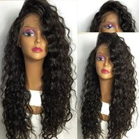 Wholesale brazilian deep curly lace wigs - Natural Looking Kinky curly Full Lace Wigs With Hairline Deep Wave Glueless Brazilian Virgin Human Hair Lace Front Wigs With Bleached knots