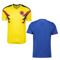 Wholesale custom team clothing - 2018 World Cup Men Football National team Home Away jerseys shirts Columbia 10 JAMES 9 FALCAO 11 CUADRADO OEM OBM ODM custom soccer clothing