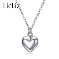 collar de espejo colgantes al por mayor-Licliz Trendy 925 Sterling Silver Mirror Heart Heart Necklace colgante cadena de eslabones largos joyería de la boda de la vendimia para las mujeres LN0190 Y1892805