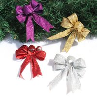Wholesale pink decorated christmas tree - 3pcs Christmas Decorations Flash Bow for Home Christmas Tree Decoration Ribbon Wedding Gift Box Decorated with Flash Ribbon