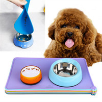 Wholesale puppy bedding - 6 Colors Silicone Pet Puppy Feeding Mat Cat Pad Cute Bed Dish Bowl Food Water Feed Placemat Pet Supplies AAA258