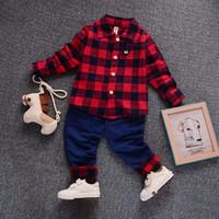 zebra kostüm für kinder großhandel-2018 frühling Kinder Warme Kinder Kostüme Set Jungen Kindermode Plaid Anzug Jungen Kleidung Baby Kinder Kleidung Sets Jungen Outfits Marke
