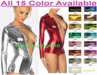 gold glänzend metallic zentai anzug großhandel-Reizvoller Frauen-kurzer Körper-Klage-Kostüm-neue 15 Farbe-glänzender Lycra-metallischer kurzer Klage-Catsuit-Kostüm-Frontzipper Halloween-Partei-Kostüme DH057