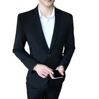 свадебное платье оптовых-TFETTERS  Korean Style Men Blazer 2018 Single Button Wedding Suit Jacket Non-ironing Solid Color Formal Blazers for Men