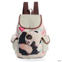 mochila kanvas toptan satış-Sevimli Panda Baskı Tuval Sırt Çantası Kadın Genç Omuz Okul Bookbag Mochila Için İpli Seyahat Sırt Çantası