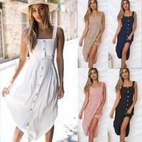 xl vestidos de sol al por mayor-Vestido para mujer con tiras y botones para el vestido de las señoras Sexy Casual Summer Beach Midi Sun Dress Plus Size XL