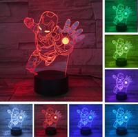 erkek çocuk lambası toptan satış-Yenilik Süper Kahraman Ironman Action Figure Değişen Renkler LED LED 3D Gece Lambası lampada Çocuk Çocuk Boys Masa Yatak Odası Uyku Başucu Işık hediyeler