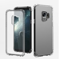 Wholesale handbag transparent crystal - Greaseproof Crystal HD Transparent Soft Silicone TPU Case Back Cover Aseismic Airbag Anti-Fingerprints Anti-Scratch for Galaxy S9+ S9 Plus
