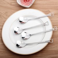 Wholesale Heart Coffee Spoon - Practical Stainless Steel Spoon Handle Hollowed Out Design Tea Scoop Love Heart Shape Coffee Spoons Factory Direct Sale 1hs B