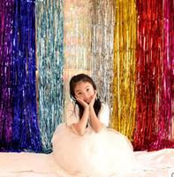 Wholesale foil fringe curtains resale online - 20pcs Bojar m cm Metallic Foil Fringe Door Rain Curtains Decoration Mariage Photo Party Wedding