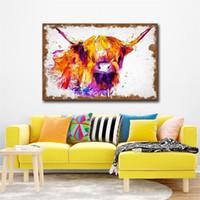 pintura mural de parede venda por atacado-Estilo nórdico Decorado Pintura Highland Cow Moderna Da Arte Da Parede Da Lona Fotos Penduradas Em Cores de Água Sala de estar Decoração Mural 18cs5 Ww