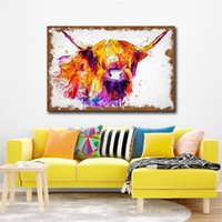 Wholesale wholesale art paintings online - Nordic Style Decorated Painting Highland Cow Modern Wall Art Canvas Hanging Pictures In Water Colours Living Room Decor Mural cs5 Ww
