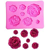 formación de hielo de la torta de chocolate al por mayor-Molde de silicona 3D Forma de rosa Molde para jabón, caramelo, chocolate, hielo, flores Herramientas de decoración de pasteles