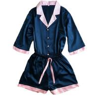 плюс размер шелковых пижамных наборов оптовых-Сексуальная V-образным вырезом район шелк пижамы наборы женщины досуг плюс размер топы шорты розовый синий пижамы пижамы Femme 2 шт./компл.