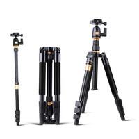 videokamera schnellspanner großhandel-QZSD Q555 55,5 Zoll Aluminiumlegierung Klapp Tragbare Reise DSLR Kamera Video Stativ Einbeinstativ mit Schnellwechselplatte Pan Kopf