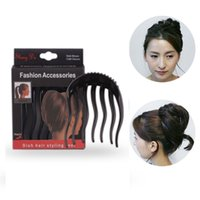 Wholesale Horse Tail Hair - New Women Braid Comb Hair Lift Up Combs Hair Styling Accessories Clip Fluffy Pony Horse Tail Plastic Braiding Tool Make up 2017