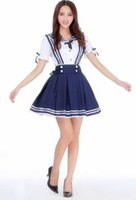Wholesale sexy japanese women cosplay online - New sexy lingerie cosplay Halloween Japanese high waist strap blue sailor suit Lolita student pleated skirt costume