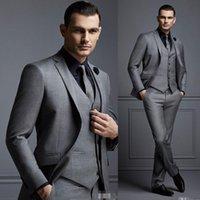мужчины в сером жилете оптовых-Серый 3 шт. мужской костюм жених костюм дешевые формальные мужские костюмы для свадьбы лучшие мужчины Slim Fit жених смокинги для человека (куртка + жилет + брюки)